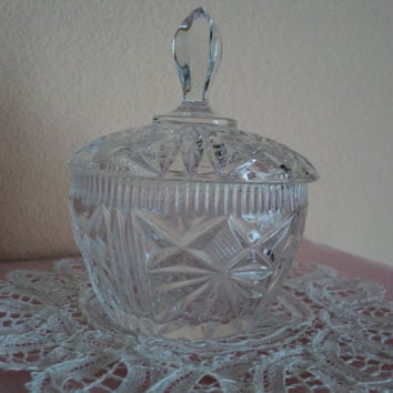 Crystal Sugar Bowl or Candy Dish with Lid Faceted Cut Crystal Glass Formal Service Tableware Cottage Chic or Fancy Setting