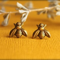 Bee Earrings in Aged Brass by saffronandsaege on Etsy