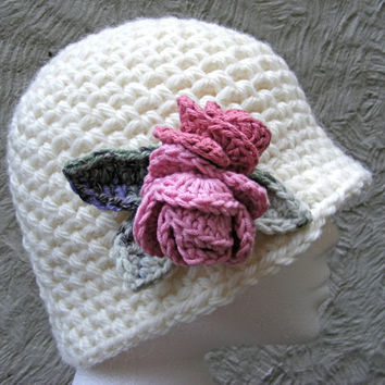 Ladies Winter Hat with Alpaca and Wool in by TheHappyCrocheter