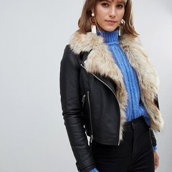 River Island faux leather jacket with faux fur trim in black at asos.com