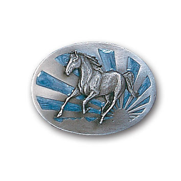 Running Horse with Sun  Enameled Belt Buckle