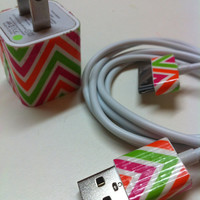 iPhone Charger (neon chevron)