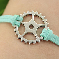 bracelet--Time Gear bracelet,antique silver charm bracelet,teal cord,friendship bracelet,MORE COLORS