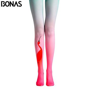 BONAS Flamingo Pantyhose Women High Waist Gradient Print Tights