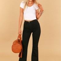 High Waisted Flare Jeans Black