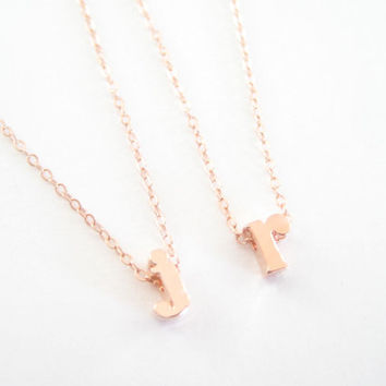 lowercase initial necklace, letter necklace, personalized alphabet A-Z necklace, bridesmaid necklace gift, rose gold