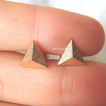 Cute Triangle Earrings - Gold and Silver; cute and simple solid triangle stud earrings; minimalist triangle studs;