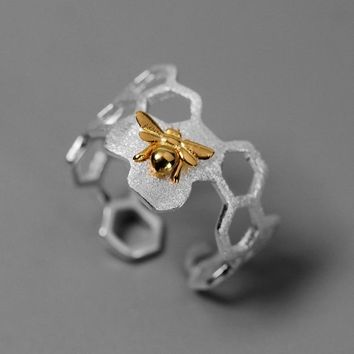 INATURE 925 Sterling Silver Honeycomb Bee Open Rings For Women Fashion Jewelry Accessories