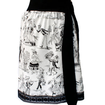 Black and White Day Of The Dead /  Mexican Dia De Los Muertos Inspired Skirt