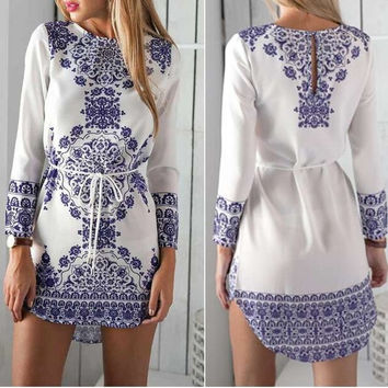 Blue and White Flowers Long Sleeve Mini Dress Casual Party Evening Beach Dress = 1958338628