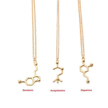 Gold Acetylcholine Molecular Necklace Molecule Science Chemical Jewelry Eternal Memory Necklace Birthday Gift