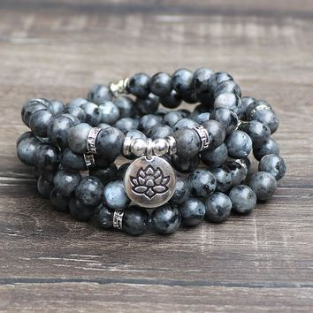 Top Design Black Labradorite Wrap Bracelet Trendy Handmade Men`s 108 Mala Yoga Bracelet or Necklace Ohm Buddha Bracelet B38
