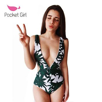 Pocket Girl 2017 Sexy One Piece Swimsuits Strappy High Waist Deep V Swimwear Women Floral Bodysuit Bathing Suit Monokini Maio