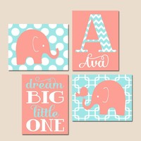Girl ELEPHANT Nursery Wall Art, Elephant Canvas or Prints, Coral Aqua Baby Girl Nursery Decor, Dream Big Little One, Set of 4 Elephant Decor