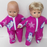 "Bitty Baby Doll Clothes Twin Girl, Boy, Baby Doll 15"" American Girl Magenta Purple Polar Bear Winter Feetie Fleece Pajamas Pjs Sleeper"