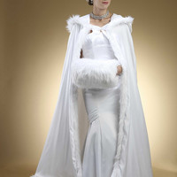Full Length Hooded Satin Bridal Cloak with Faux Angora Trim 3368CL