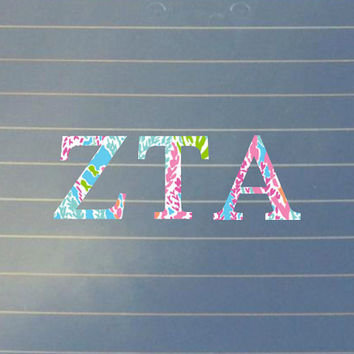 Lilly pulitzer inspired zeta tau alpha car decal zeta tau alph