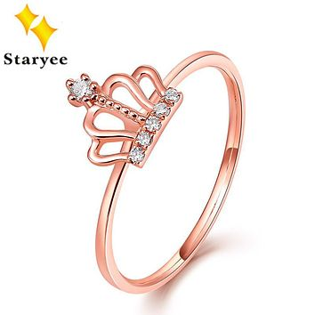 STARYEE Certified 0.1CT VS H Natural Diamonds Engagement Rings Real 18K Solid Rose Gold Princess Crown Wedding Bands For Women