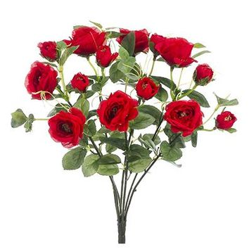 "Wild Rose Silk Flower Bush in Red - 12"" Tall"