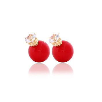 Hot New Fashion Stud Earring Round Big Pearl Beads Earrings Crystal crown charm earring for women design jewelry (#ER061)