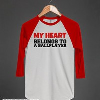 My Heart Belongs to a Ballplayer-Unisex White/Red T-Shirt