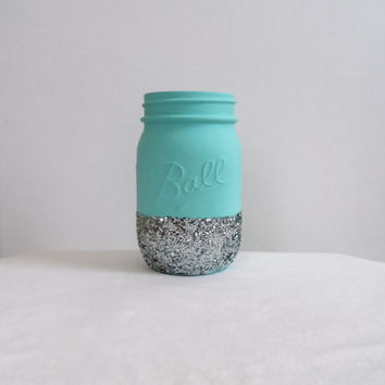Tiffany Blue Glitter Mason Jar - Perfect for Makeup Brushes, Toothbrushes, Pens, Pencils, Etc