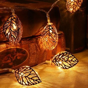 Chiclits LED Fairy Lights 20 Metal Leaves String Light Battery Christmas lights for Festival Halloween Party Wedding Decoration