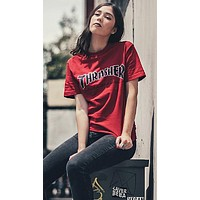 Thrasher Summer Women Men Casual Letter Alarm Clock Print T-Shirt Top Red