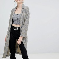 New Look Check Textured Duster Coat at asos.com