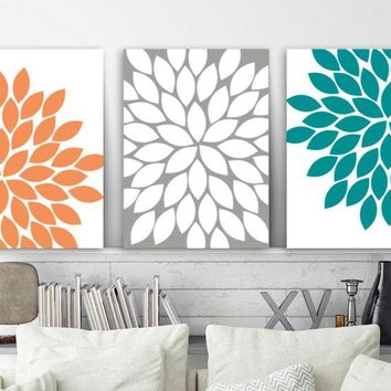 Flower Wall Art, Orange Teal Gray Bedroom Canvas or Prints, Bathroom Decor, Flower Bedroom Pictures, Flower Petal Artwork, Set of 3 Pictures