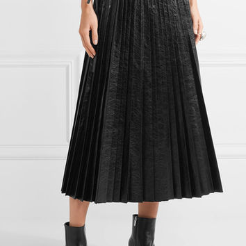 Valentino - Pleated cracked-leather wrap skirt