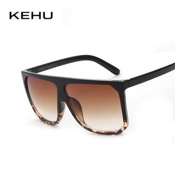 KEHU Newest Women Sunglasses Square Glasses Vintage Big Frame Sun Glasses Acetate Gradient Unique Eyeglasses UV400 k9042