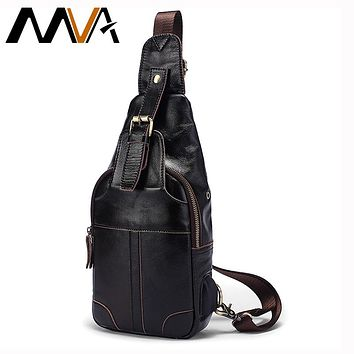 MVA Genuine Leather Bags USB Anti-theft Magnetic Clasp Crossbody Bags Men Shoulder Bag Chest Waist Pack Messenger Bag 8202