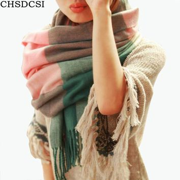 CHSDCSI 2017 Fashion Wool Winter Scarf Women Spain Scarf Plaid Thick Brand Shawls and Scarves for Women