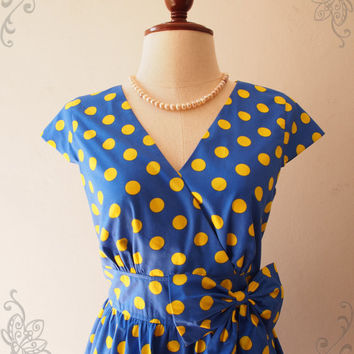 Blue Summer Dress Retro Sleeve Pin up Dress Polka Dot Blue Bridesmaid Graduation Vintage Tea Party Short Long Dress, XS-XL,...