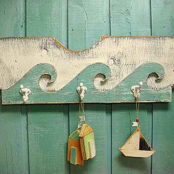 Coat Rack Hook Rack Beach Fence Wall Decor White Turquoise - Ready to Ship