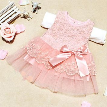 Sweet Cute Baby Girls Dresses Children Clothes Cotton Kids Bow Lace Ball Gown Casual Princess Dress
