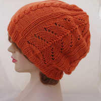 Hand Knitted Women Hat, Slouch Hat for Women, Winter Seamless Hat, Hat in Orange, Cable Hat, Orange Lace Clouch