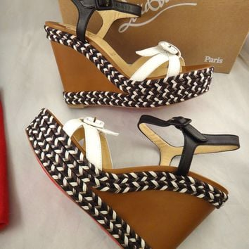 NIB Christian Louboutin Lagoa 120 Leather White Black Rope Wedge Shoe 41 $795
