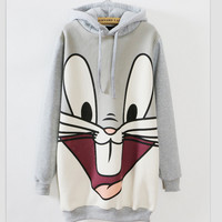 In the cartoon rabbit long hooded fleece
