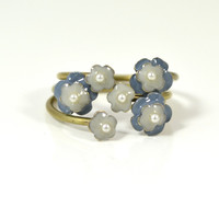 Blue Floral Stackable Ring by Eric et Lydie