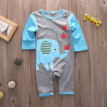 Newborn Baby Boys Girls Long Sleeve playsuit Romper Jumpsuit Animal Clothes Set xmas gift
