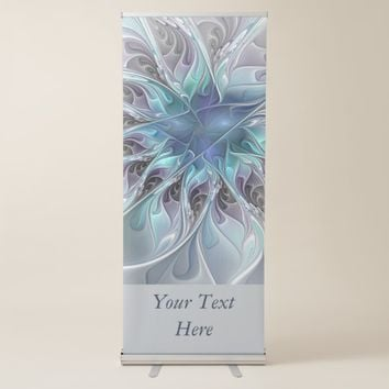 Flourish Abstract Modern Flower With Blue Text Retractable Banner