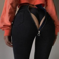 Women High Waist Skinny Jeans With Zipper in the Back New Vintage Push Up Black Jeans Femme Fitness Denim Pants  ~~.