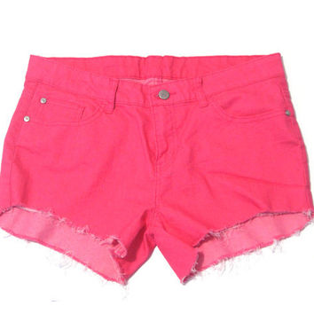 Distressed Stretchy Denim Shorts Hot Pink Neon Pink Patch Pockets Shorts