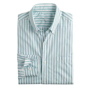 J.Crew Mens Slim Lightweight Secret Wash Shirt In Faded Teal Stripe