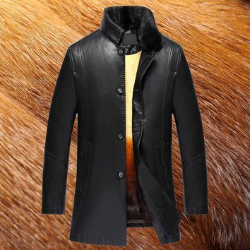 Long Real Fur Collar Men Winter Leather Jackets Fox Fur Lining Men Fur Coat