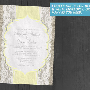 Yellow Vintage Linen Burlap & Lace Wedding Invitations | Invites | Invitation Cards