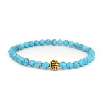 Turquoise / Gold and Black CZ
