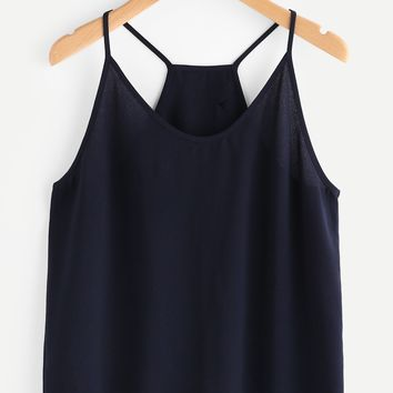 Overlap Back Scallop Edge Crop Top NAVY